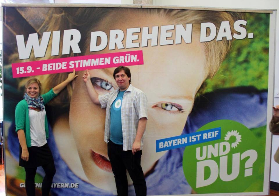 Die beiden Grüne Jugend SpitzenkandidatInnen für die Landtagswahl: Stefan Christoph und ich