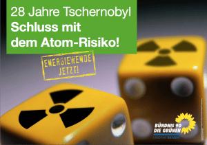 28 Jahre nach Tschernobyl - Plakataktion der Bayerischen Grünen und Vortrag im Grünen Büro