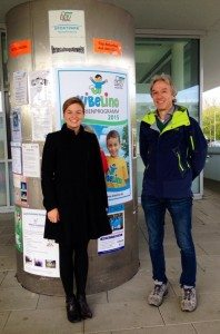 Katharina Schulze mit dem Präsidenten des ESV Neuhausen, Dr. Ansgar Ruggaber