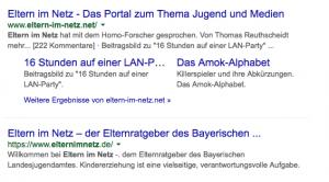 """Screenshot: Google Suche """"Eltern im Netz"""""""