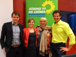 Sönke Kreft. Katharina Schulze. Claudia Roth und Martin Stümpfig diskutierten über Klimaschutz und die Rolle der G7