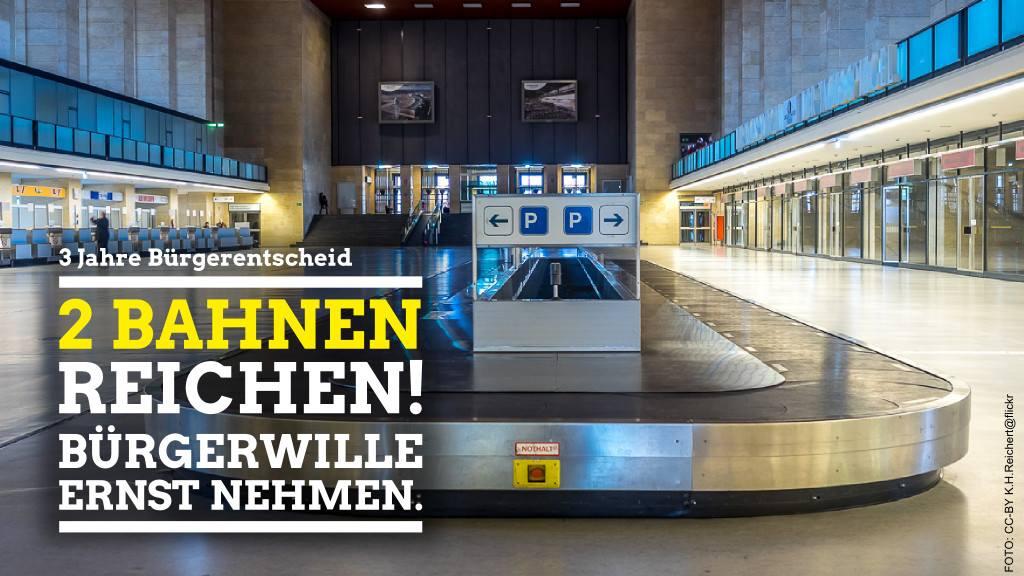 3 Jahre Bürgerentscheid: 2 Bahnen reichen - Bürgerwille ernst nehmen! © Grüne Bayern