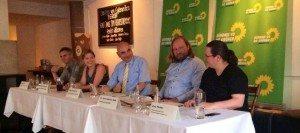 Das Podium: Martin Becher, Katharina Schulze, Jürgen Mistol, Anton Hofreiter und Zara Pfeiffer