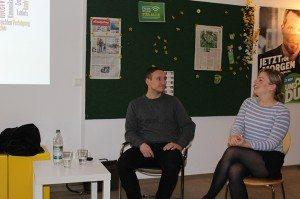 Referent Tom Weinert, Polizei und Katharina Schulze, MdL