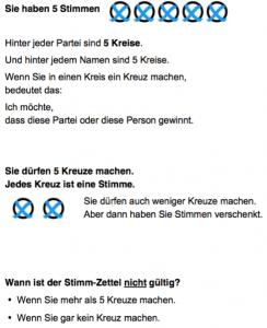 Wahlzettel in Leichter Sprache (Beispiel Bremen)