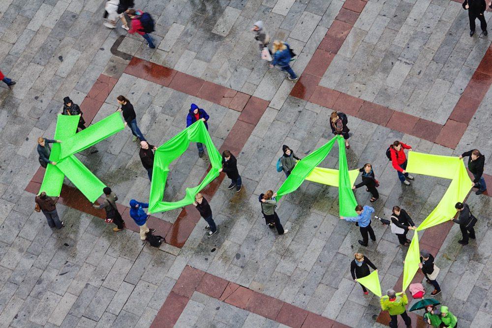 Coole Aktion am Münchner Marienplatz: Koa 3. Startbahn!