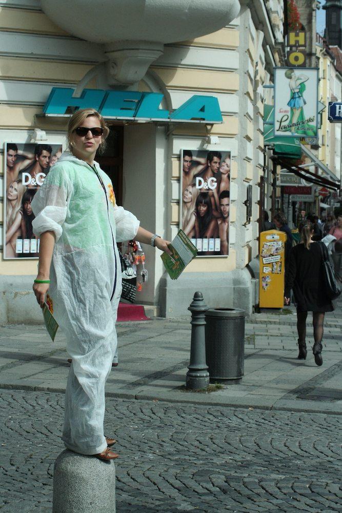 Aufmerksamkeit erregen gegen Atomkraft in München