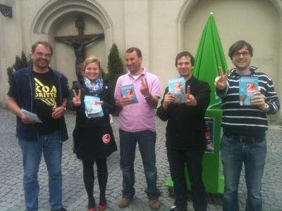 Münchner Grüne werben: zwei gewinnt