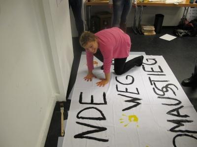 Plakat der Grünen Jugend München: Hände weg vom Atomausstieg!