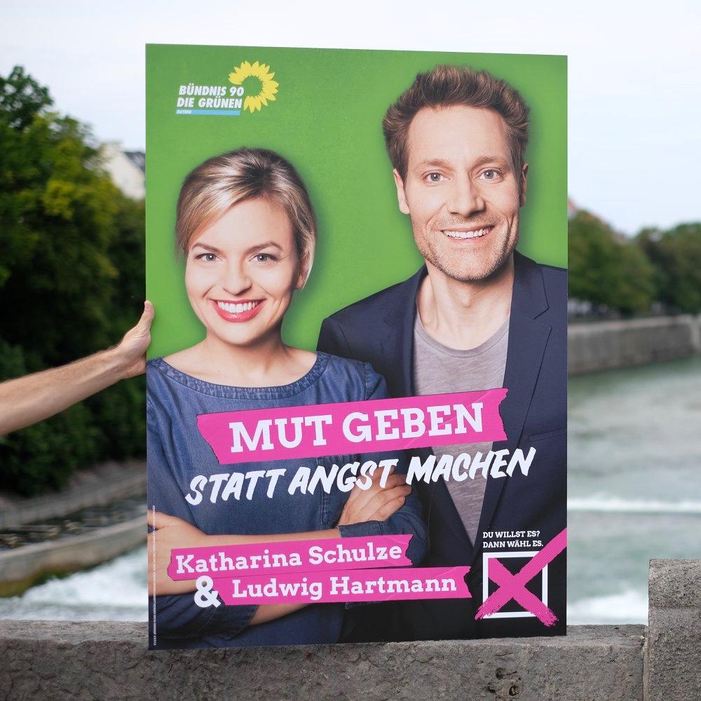Grüne Plakatkampagne vorgestellt - das ist das Spitzenduoplakat von Katharina Schulze und Ludwig Hartmann.